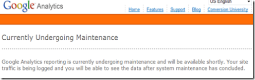 Google Analytics Maintenance Screenshot