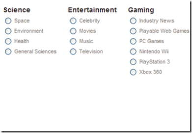 Second Digg Categories