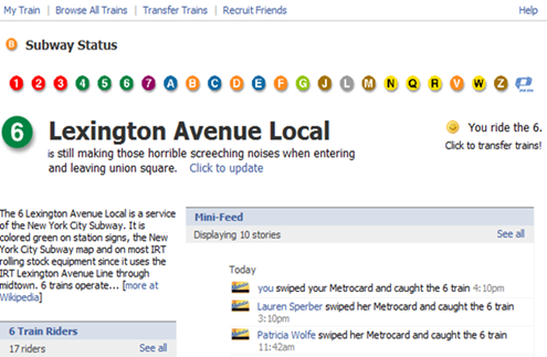 MTA Subway Status Facebook Application Screenshot