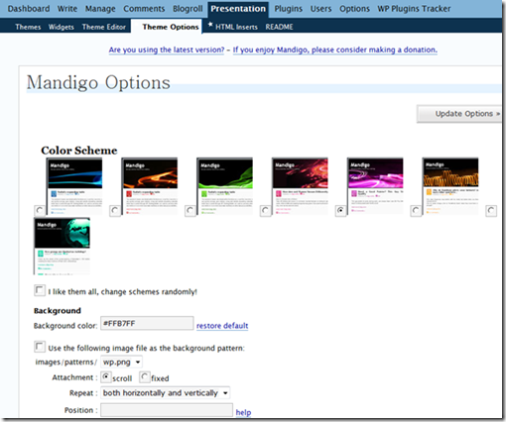 Mandigo WordPress Themes  Options Screenshot 1